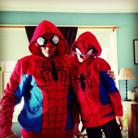 Evin and son dressed in Spiderman costumes